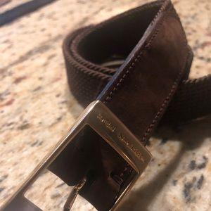 Brown stretch woven Italian belt; gently worn